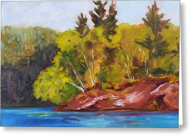 Red Clay Greeting Cards - River Point Greeting Card by Nancy Merkle