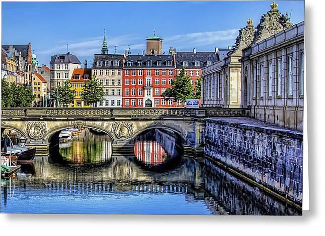 River Reflection - Copenhagen Denmark Greeting Card by Jon Berghoff