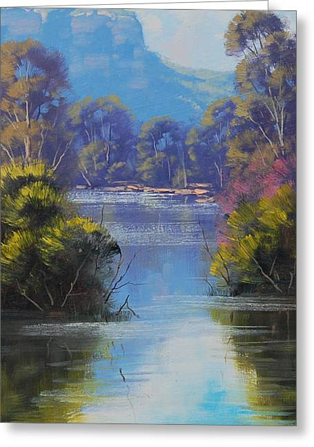 Beautiful Creek Paintings Greeting Cards - River Reflections Megalong creek Greeting Card by Graham Gercken