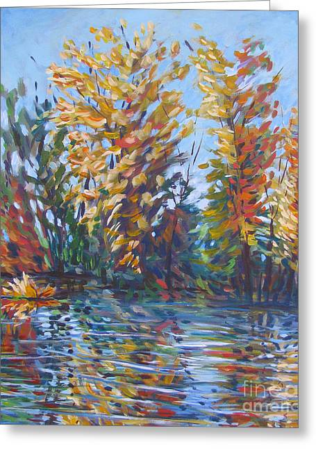 Stockton Greeting Cards - Fall Arrives At River Road Greeting Card by Vanessa Hadady BFA MA