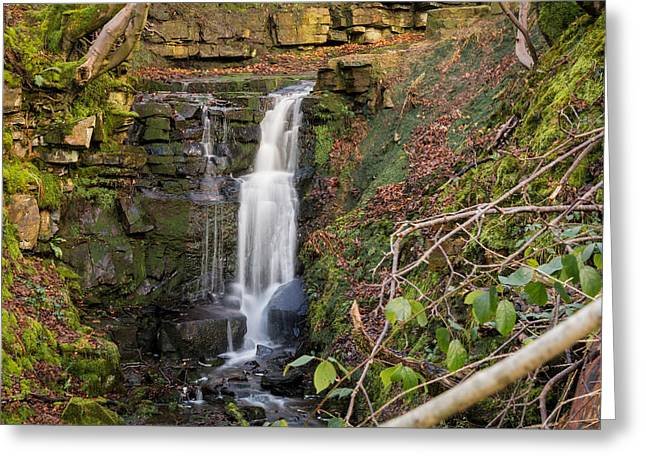 Calm Greeting Cards - River Roddlesworth Waterfall. Greeting Card by Daniel Kay