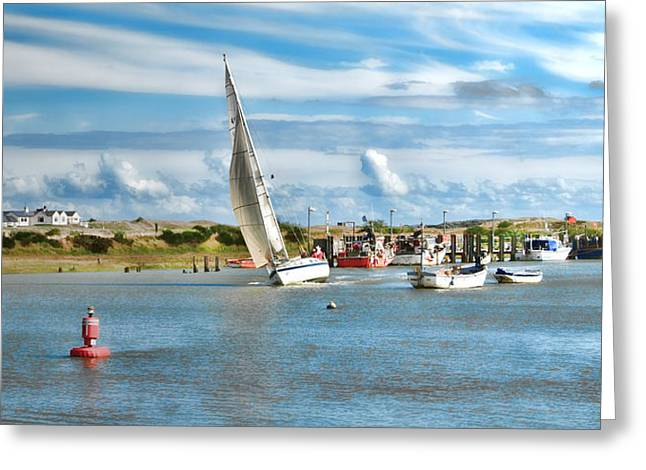 Sailing Ship Greeting Cards - River Rother Greeting Card by Sharon Lisa Clarke