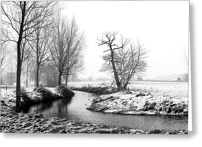 Snowy Day Greeting Cards - River Running Through A Winter Snow Scene Greeting Card by Fizzy Image