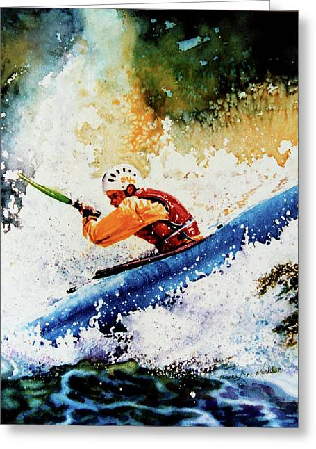 Sports Artist Greeting Cards - River Rush Greeting Card by Hanne Lore Koehler
