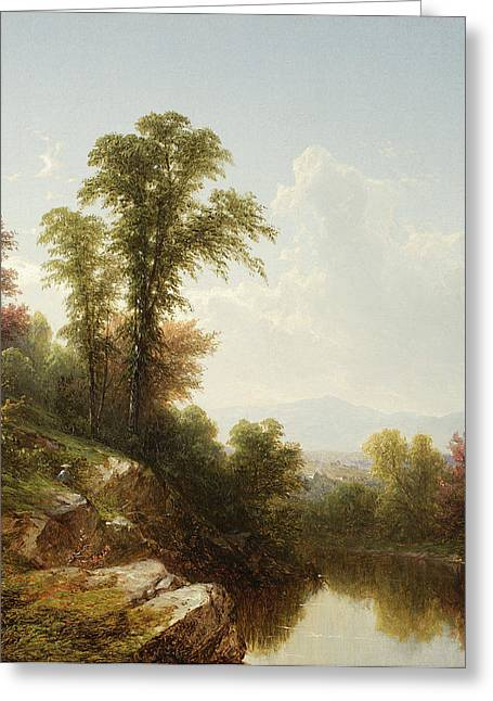 River Paintings Greeting Cards - River Scene  Catskill Greeting Card by John William Casilear