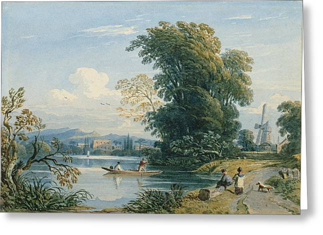 Punting Greeting Cards - River Scene Greeting Card by John Varley