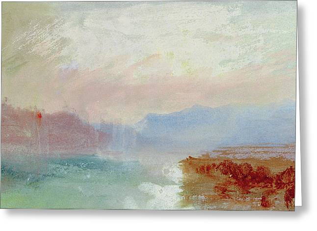 River View Greeting Cards - River scene Greeting Card by Joseph Mallord William Turner