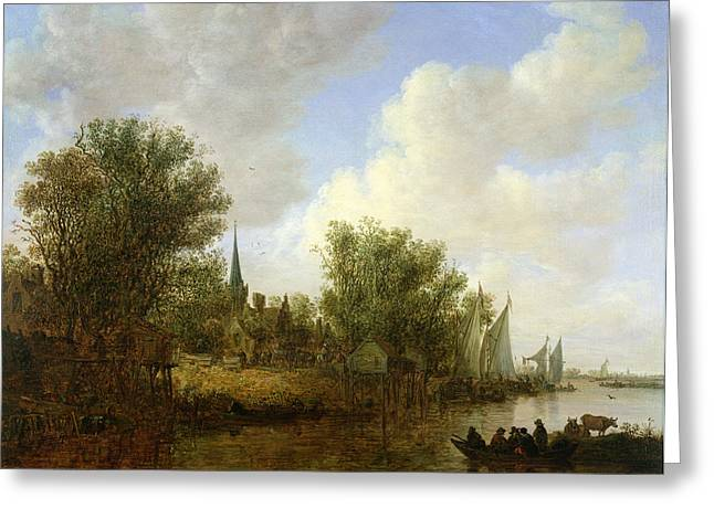 Holland Greeting Cards - River Scene With A View Of Overschie, 1651 Oil On Canvas Greeting Card by Jan Josephsz. van Goyen