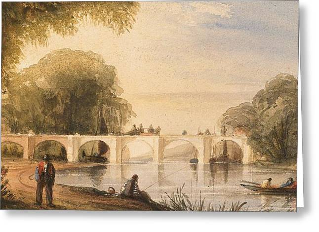 Riverboats Greeting Cards - River scene with bridge of six arches Greeting Card by Robert Hindmarsh Grundy
