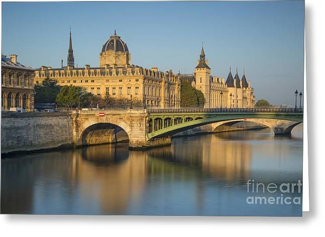 River Seine - Dawn Greeting Card by Brian Jannsen