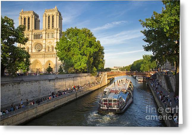 21st Greeting Cards - River Seine and Cathedral Notre Dame  Greeting Card by Brian Jannsen