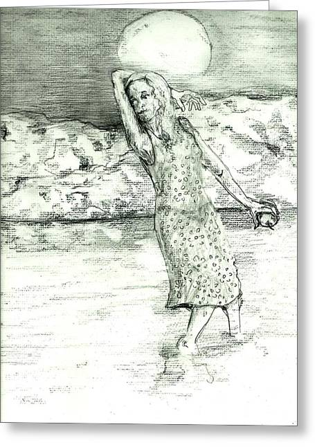 Clothed Figure Greeting Cards - River Sighting Greeting Card by Joseph Wetzel