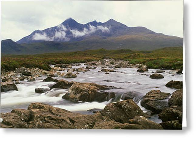 Overcast Day Greeting Cards - River Sligachan, Distant Mountain Greeting Card by Panoramic Images
