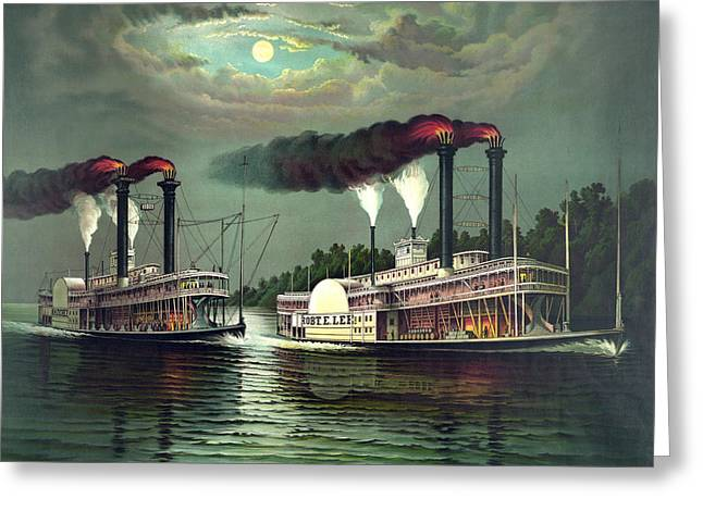 Antique Digital Art Greeting Cards - River Steamers Greeting Card by Gary Grayson