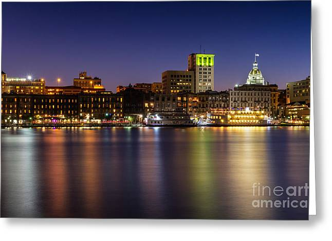 Recently Sold -  - Chatham Greeting Cards - River Street at Twilight Savannah Georgia Greeting Card by Dawna  Moore Photography