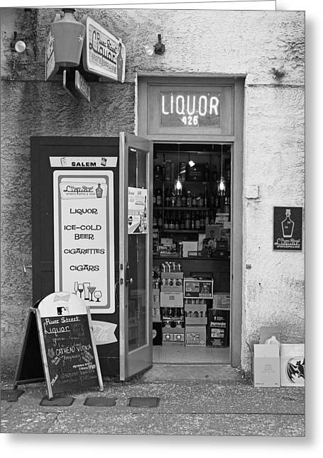 Store Fronts Greeting Cards - River Street Liquor Greeting Card by Joseph C Hinson Photography