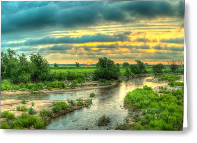 Arkansas Greeting Cards - River sunrise Greeting Card by  Caleb McGinn
