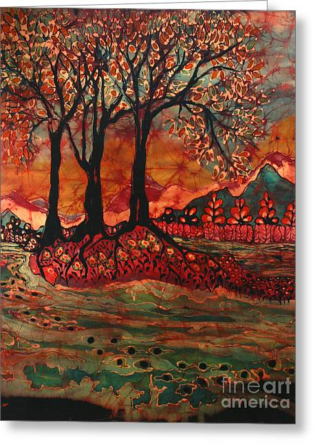 The Trees Tapestries - Textiles Greeting Cards - River Sunrise - Lothlorien Greeting Card by Carol Law Conklin