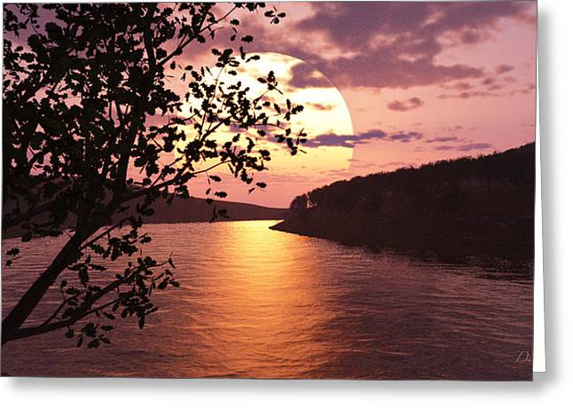 Reflections In River Digital Art Greeting Cards - River Sunset Greeting Card by Diana  Voyajolu
