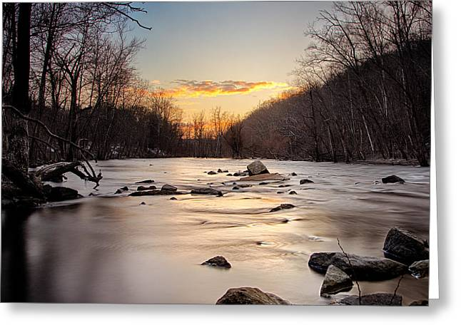 Klimis Greeting Cards - River sunset Greeting Card by Emmanouil Klimis