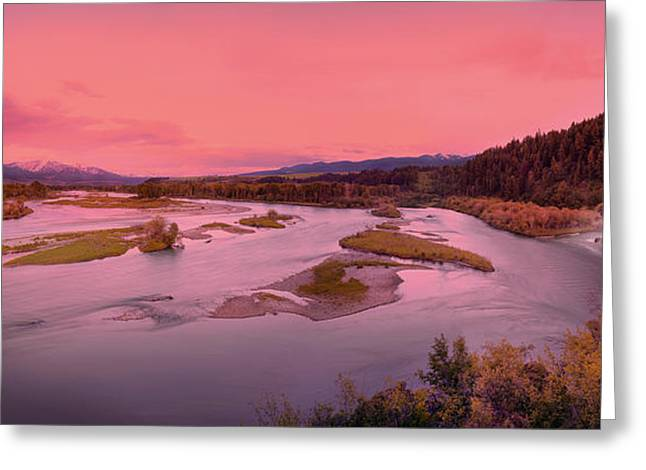 Most Greeting Cards - River Sunset Greeting Card by Leland D Howard