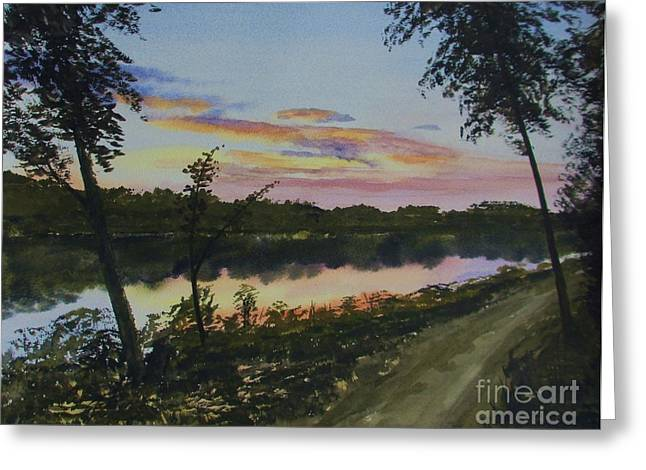 Peaceful Scenery Greeting Cards - River Sunset Greeting Card by Martin Howard