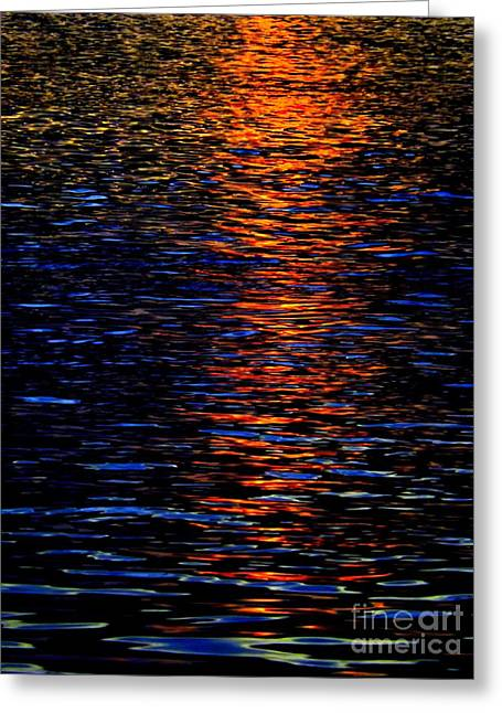 Nature Abstracts Greeting Cards - River Sunset Greeting Card by Robyn King