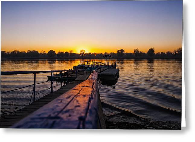 River Sunset Greeting Card by Svetlana Sewell