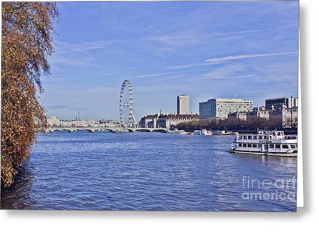 Londoneye Greeting Cards - River Thames London Greeting Card by Terri  Waters