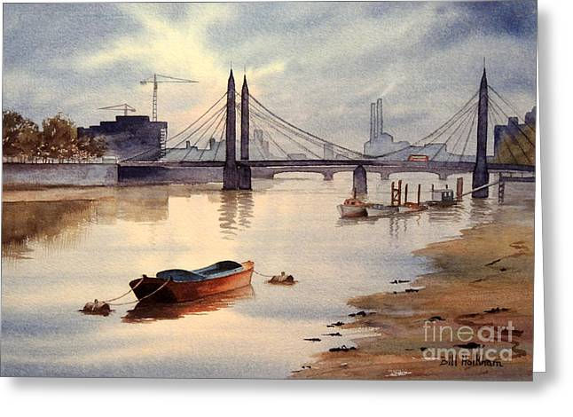 River Thames Towards Chelsea Greeting Card by Bill Holkham
