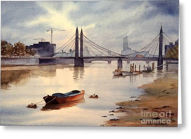 Chelsea Greeting Cards - River Thames Towards Chelsea Greeting Card by Bill Holkham
