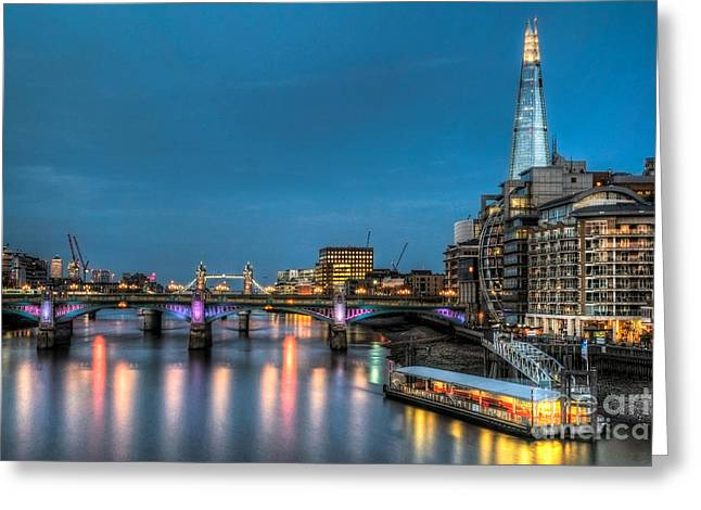 Londoners Greeting Cards - River Thames waterfront London England Greeting Card by Bill Cobb