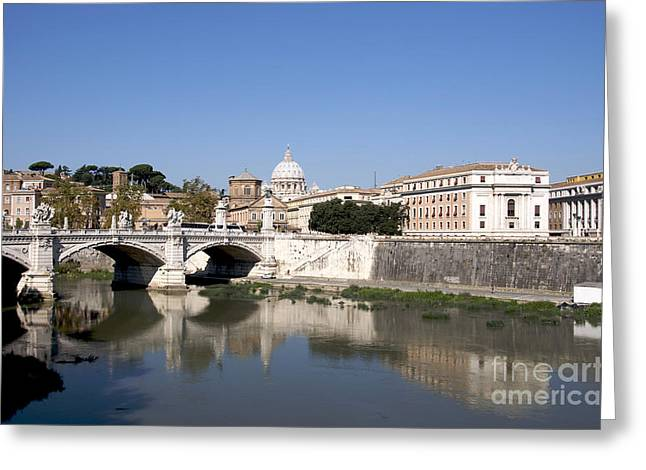 City Buildings Greeting Cards - River Tiber with the Vatican. Rome Greeting Card by Bernard Jaubert