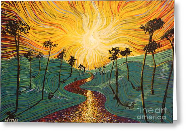 Squiggleism Greeting Cards - River To Light Greeting Card by Stefan Duncan