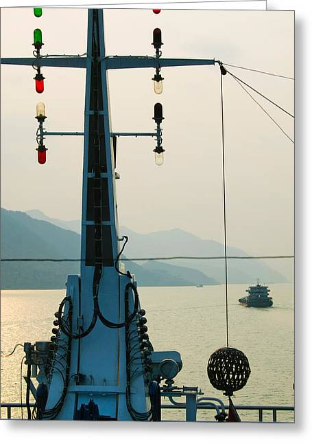 Traffic Greeting Cards - River Traffic On The Yangzi River Greeting Card by Panoramic Images