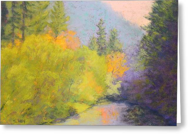 Oregon Pastels Greeting Cards - River Trance Greeting Card by Nancy Jolley