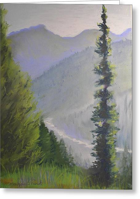 Mountain Valley Pastels Greeting Cards - River Valley Greeting Card by Margaret Park