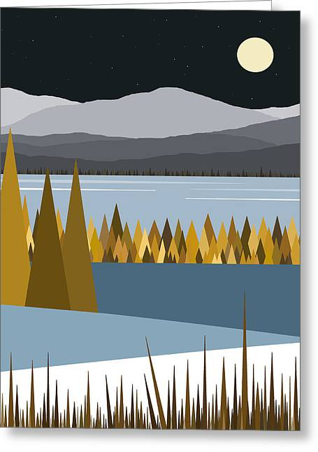Winter Night Greeting Cards - River Valley Winter Greeting Card by Val Arie