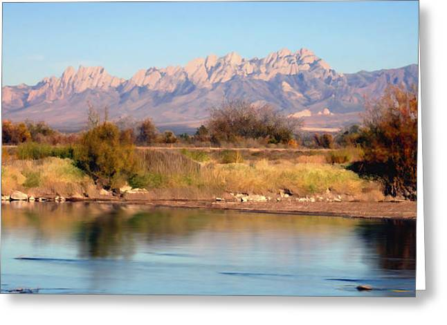 Las Cruces New Mexico Greeting Cards - River View Mesilla Panorama Greeting Card by Kurt Van Wagner
