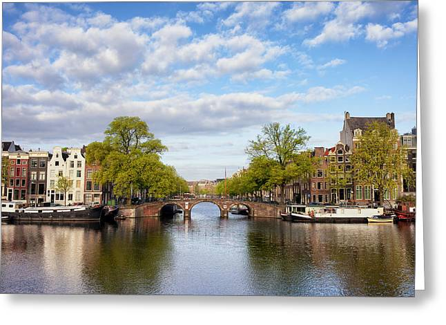 Old Home Place Greeting Cards - River View of Amsterdam Greeting Card by Artur Bogacki