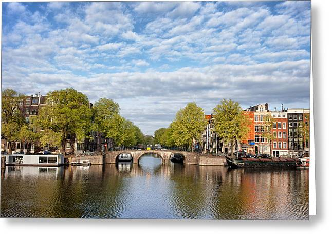 Old Home Place Greeting Cards - River View of Amsterdam in the Netherlands Greeting Card by Artur Bogacki