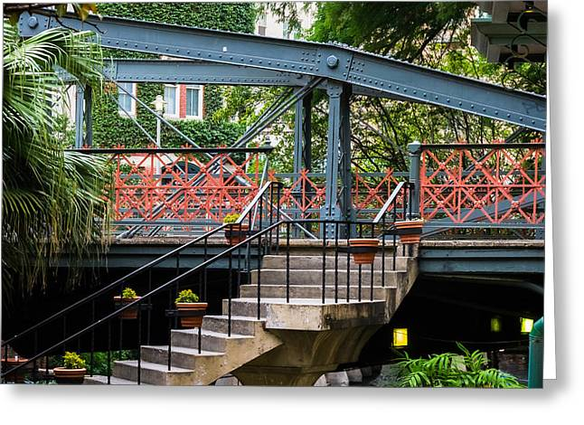 Steel Water Feature Greeting Cards - River Walk Staircase and Bridge Greeting Card by Ed Gleichman