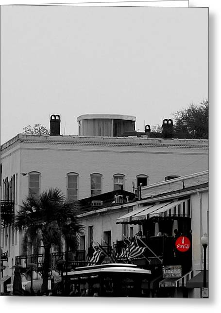 Photographs With Red. Greeting Cards - River Walk Store Fronts Greeting Card by Laurie Pike