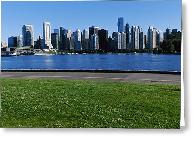 British Columbia Greeting Cards - River Walk With Skylines Greeting Card by Panoramic Images