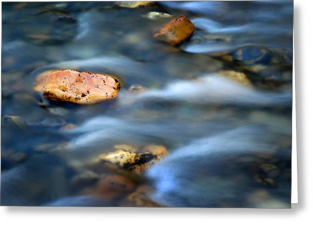 Crick Greeting Cards - River Water and Rocks Greeting Card by Lane Erickson