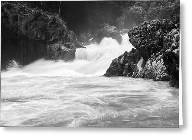 Bw Waterfalls Greeting Cards - River waterfalls Greeting Card by Yuri Santin