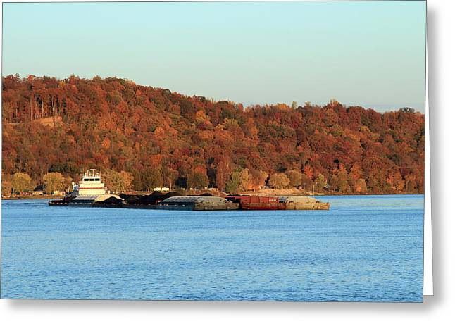 Southern Indiana Autumn Photographs Greeting Cards - River Workhorse 2 Greeting Card by Andrea Kappler