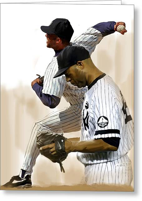 Pitcher Drawings Greeting Cards - RIVERA III Mariano Rivera  Greeting Card by Iconic Images Art Gallery David Pucciarelli