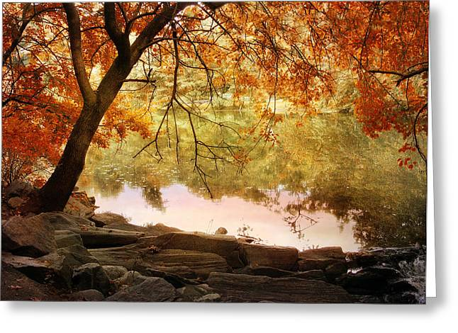 Fall Trees Greeting Cards - Riverbank Maple Greeting Card by Jessica Jenney