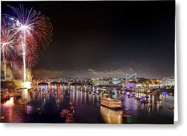 Tennessee River Greeting Cards - Riverbend Fireworks Greeting Card by Steven Llorca